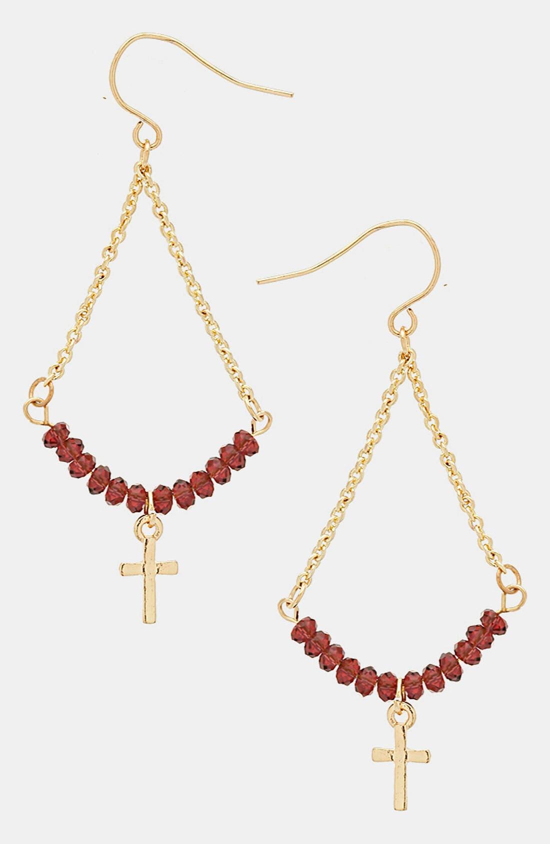 Alternate Image 1 Selected - Topshop Beaded Cross Earrings