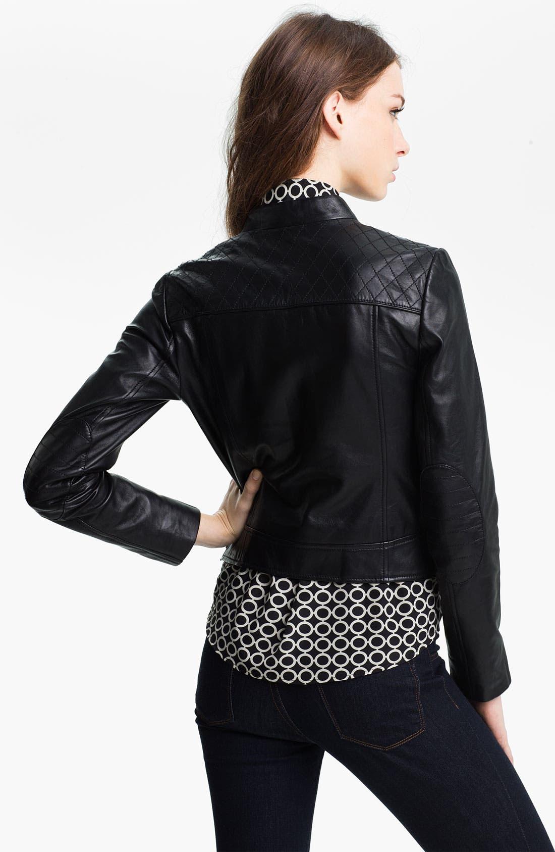 Alternate Image 2  - Halogen® Quilted Trim Leather Jacket