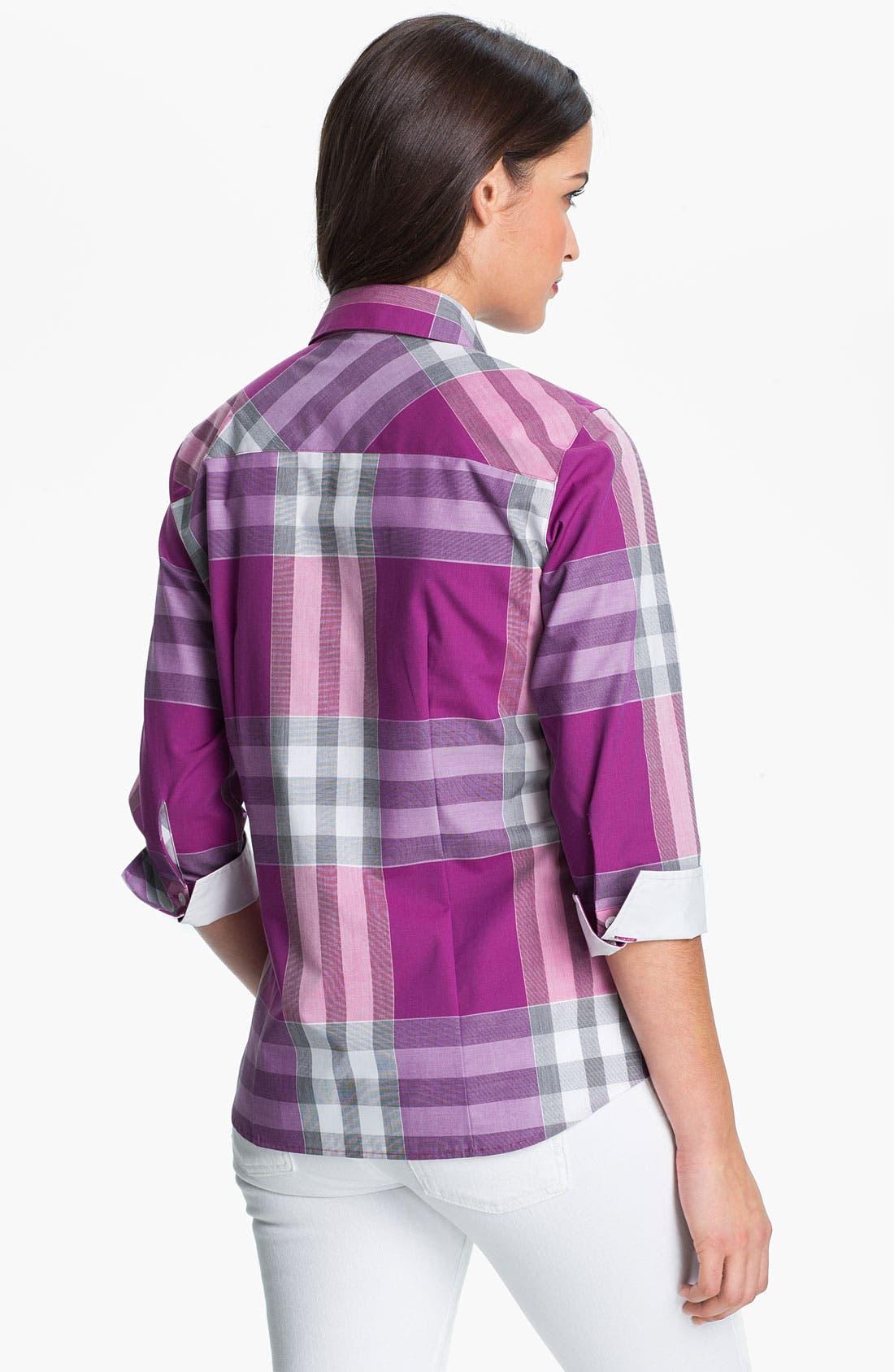 Alternate Image 2  - Foxcroft Three Quarter Sleeve Plaid Shirt