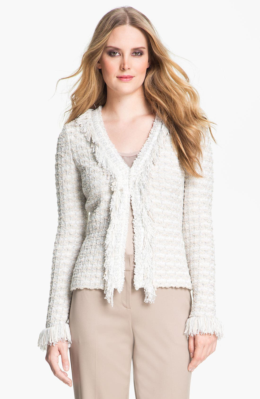 Alternate Image 2  - St. John Collection Shredded Trim Tweed Jacket