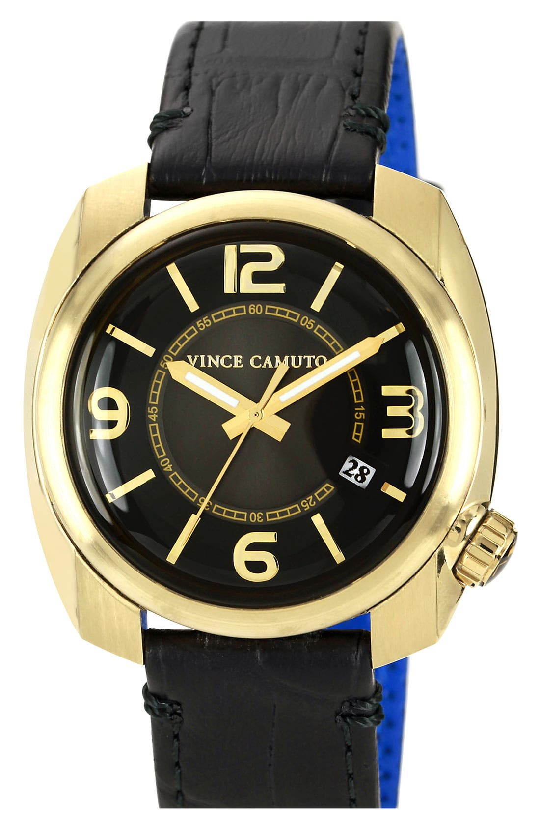 Alternate Image 1 Selected - Vince Camuto Square Case Leather Strap Watch, 42mm