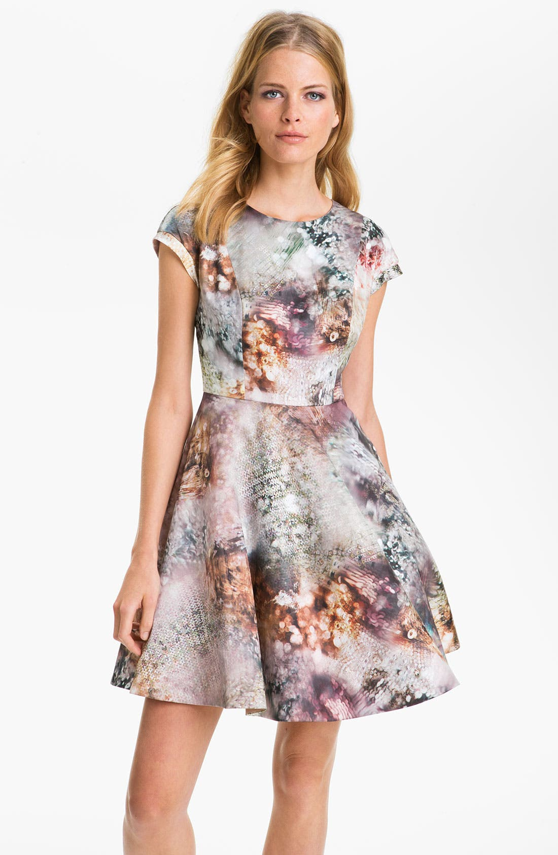 Alternate Image 1 Selected - Ted Baker London 'Media' Satin Fit & Flare Dress