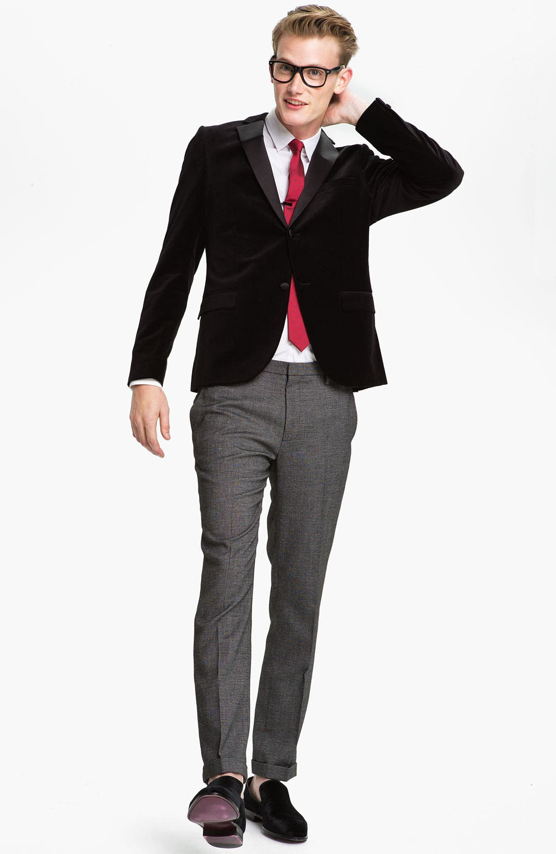 Alternate Image 4  - Topman Slim Fit Tonal Pin Dot Dress Shirt