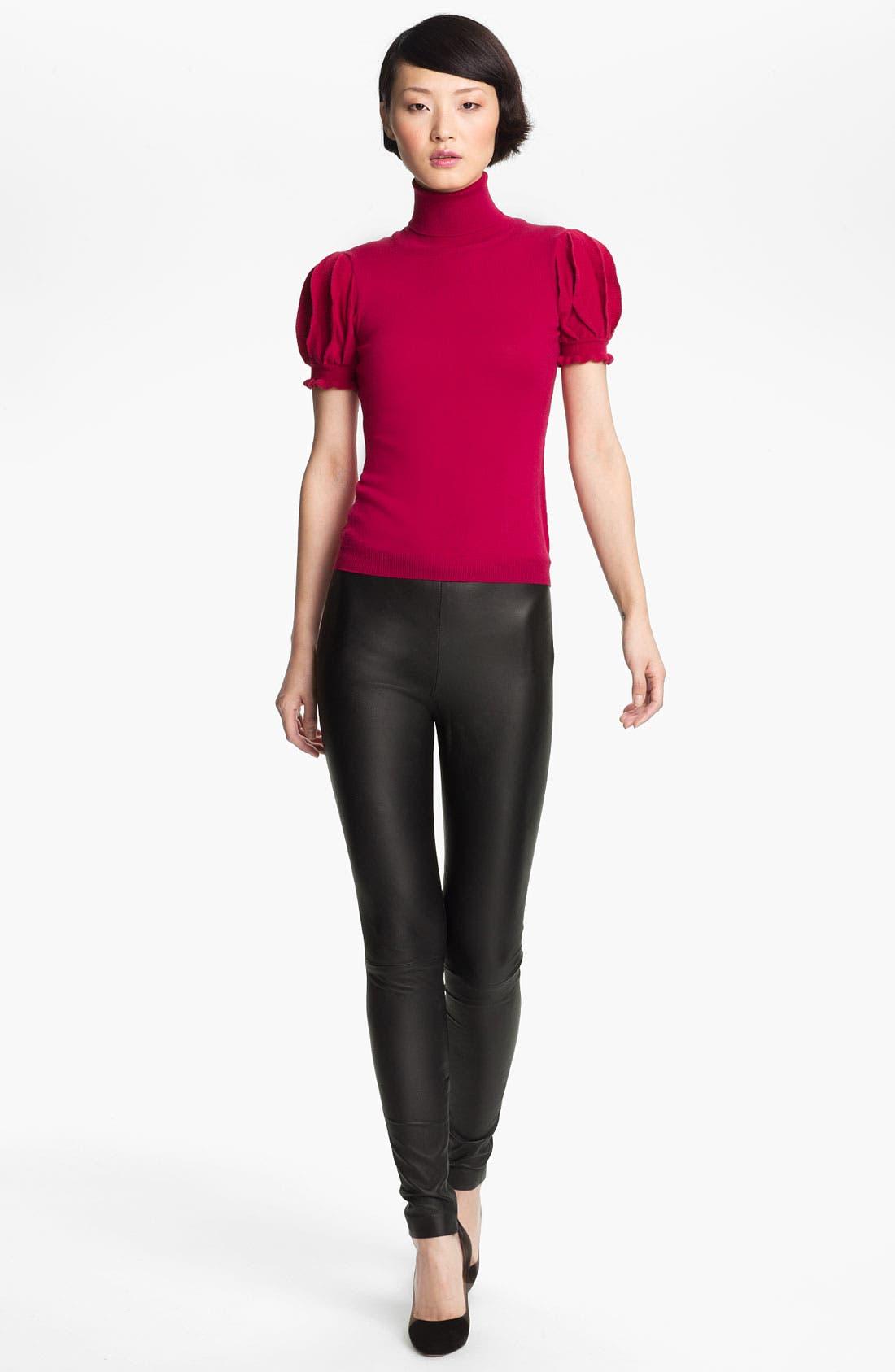 Alternate Image 1 Selected - RED Valentino Pleated Sleeve Turtleneck