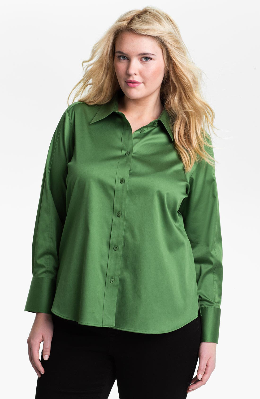 Main Image - Foxcroft Shaped Stretch Sateen Shirt (Plus)