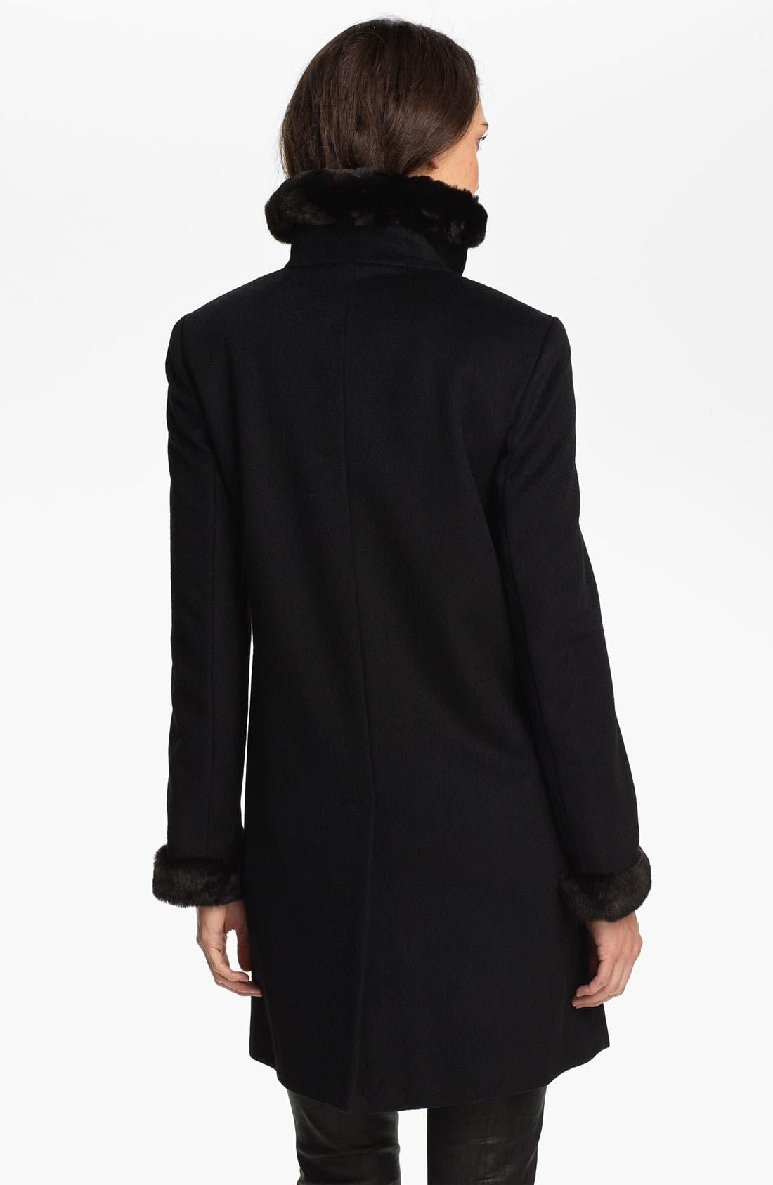 Alternate Image 2  - Ellen Tracy Faux Fur Trim Walking Coat
