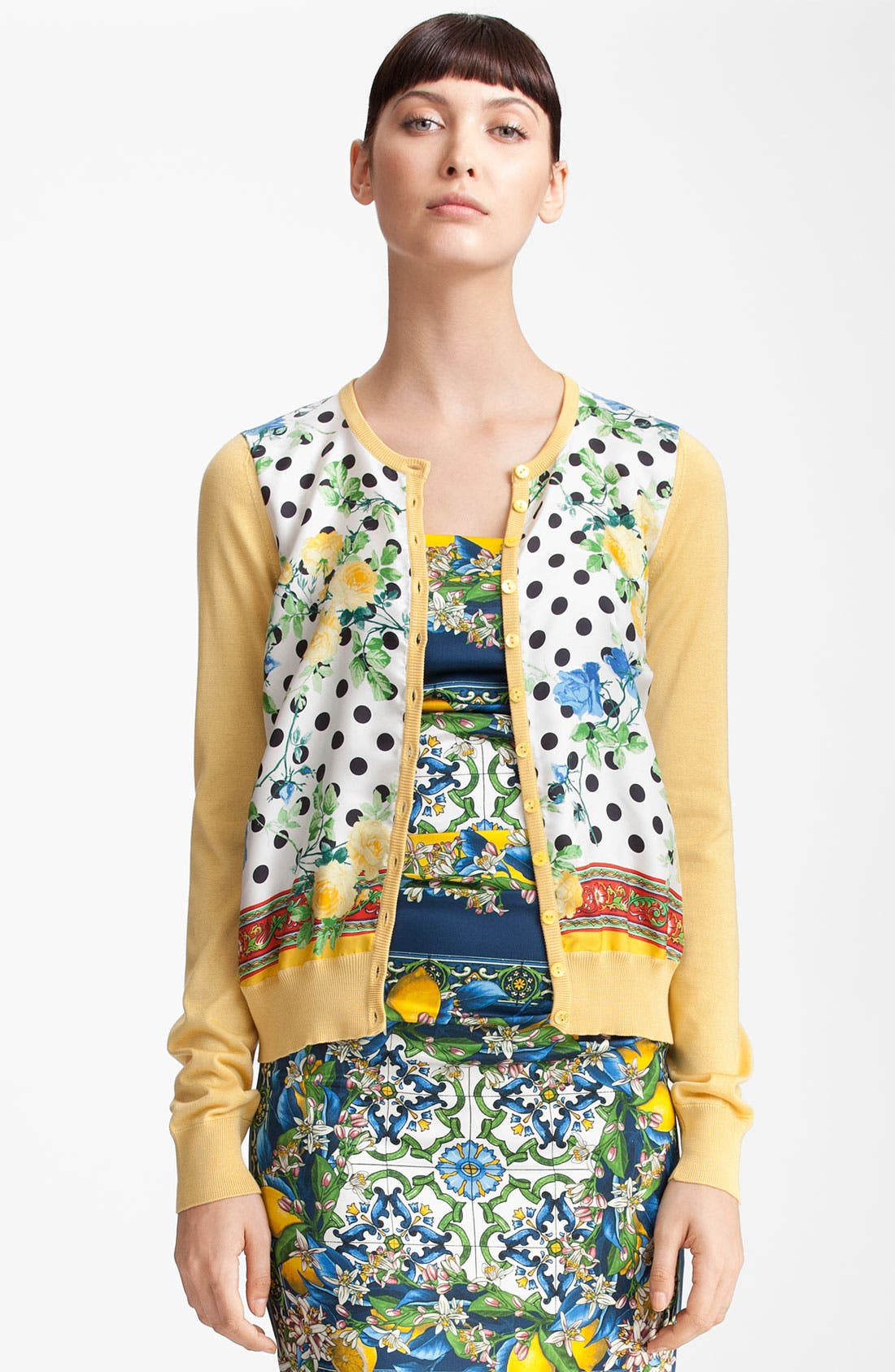 Alternate Image 1 Selected - Dolce&Gabbana Dot & Rose Print Silk Knit Cardigan