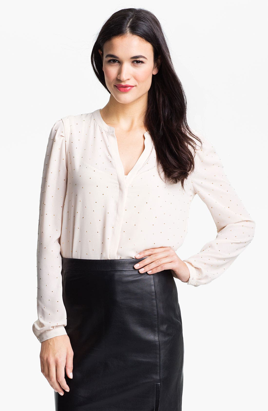 Alternate Image 1 Selected - DKNYC Studded Chiffon Blouse
