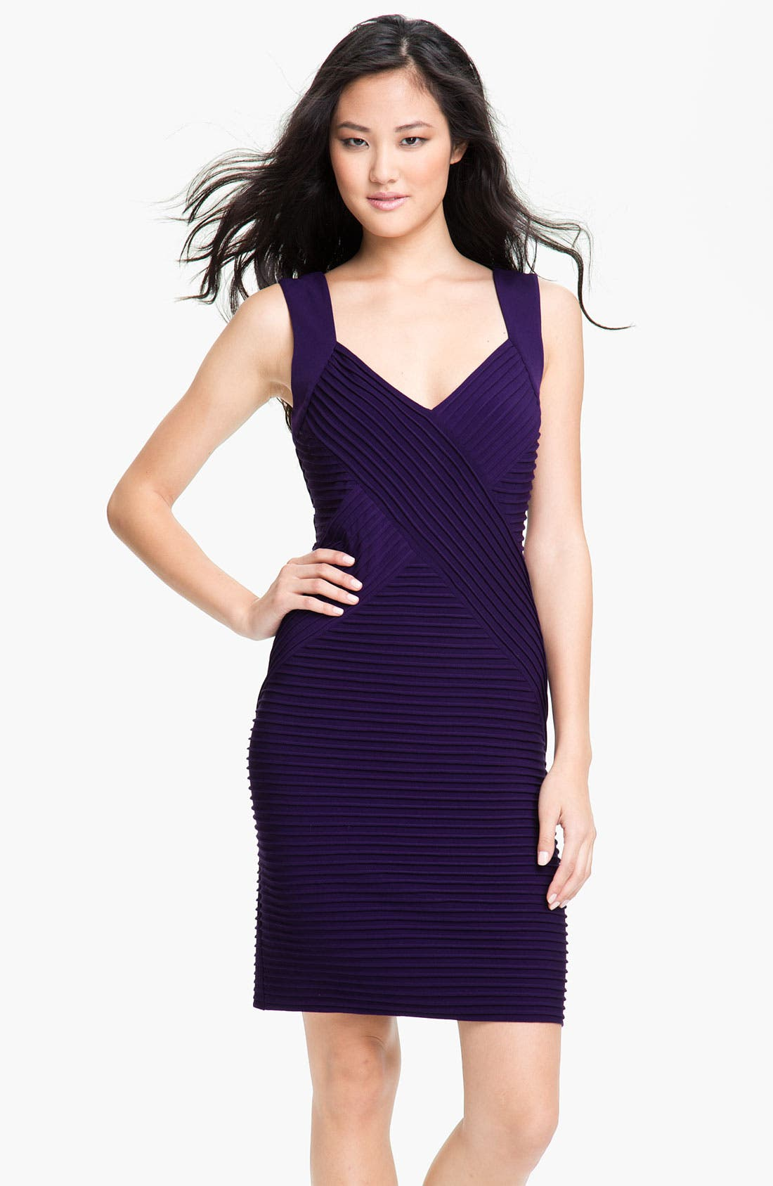 Alternate Image 1 Selected - Calvin Klein Ribbed Panel Jersey Sheath Dress