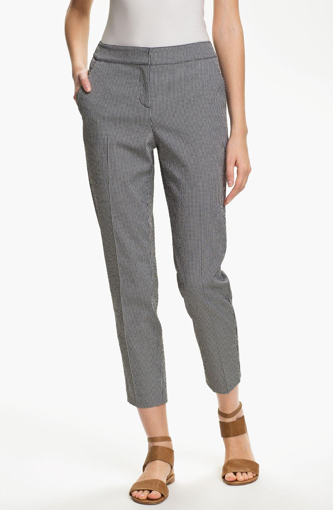 Main Image - St. John Yellow Label 'Emma' Vichy Check Crop Pants
