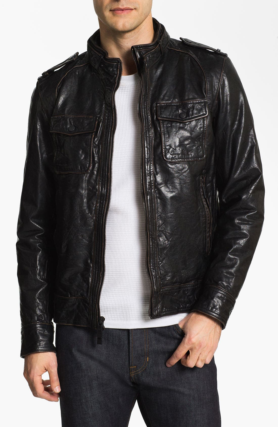 Alternate Image 1 Selected - Vince Camuto Leather Utility Jacket
