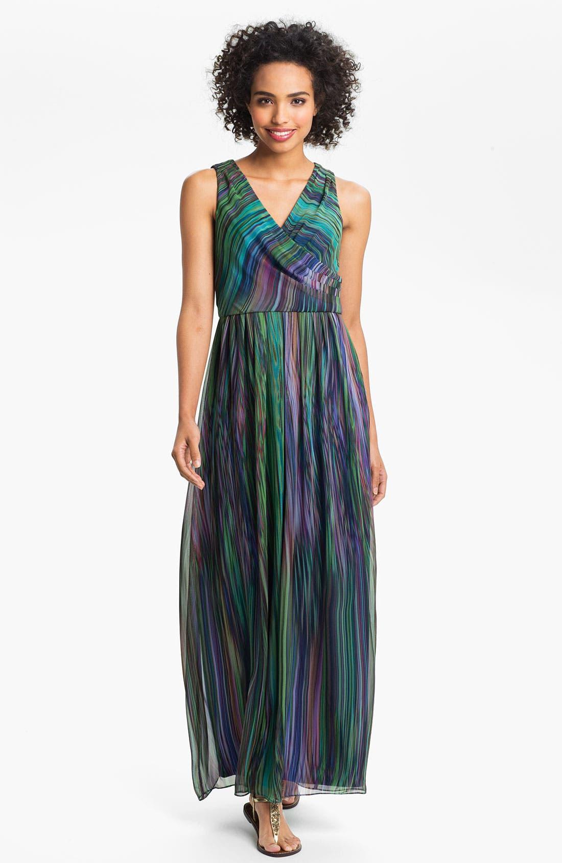 Main Image - Donna Ricco Printed Surplice Maxi Dress