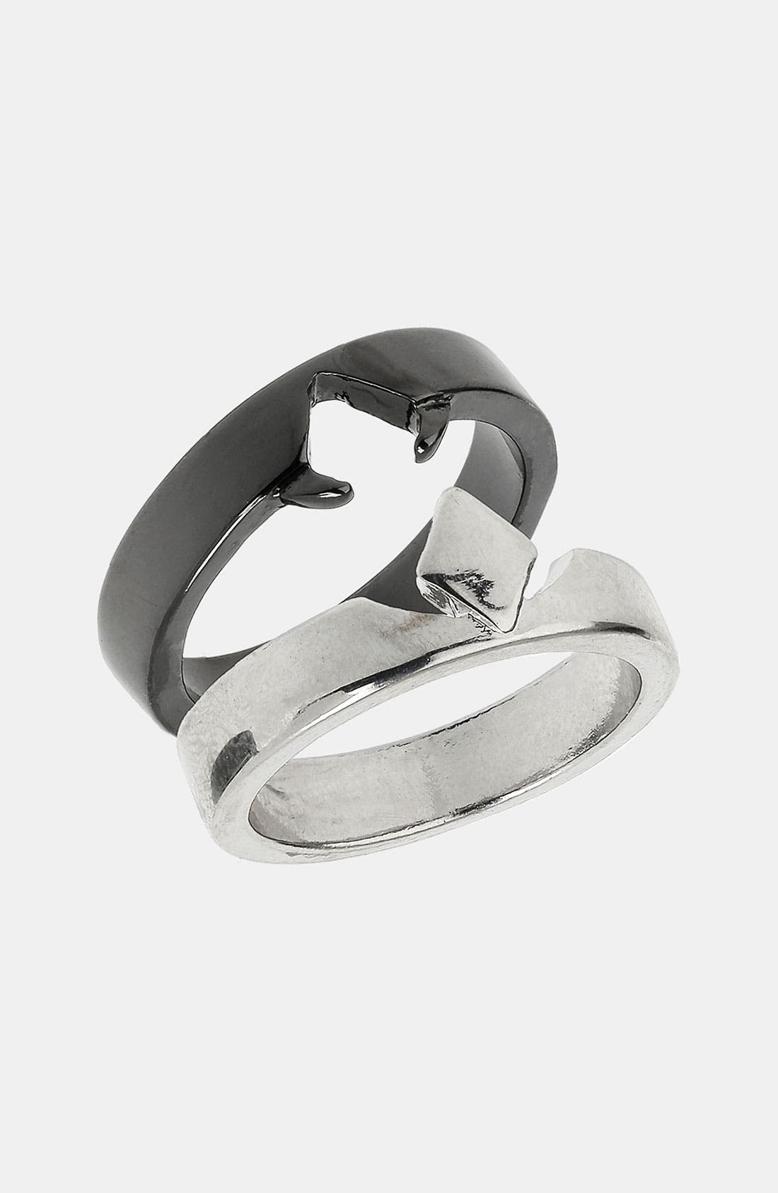 Alternate Image 1 Selected - Topman Diamond Shape Cutout Rings (Set of 2)