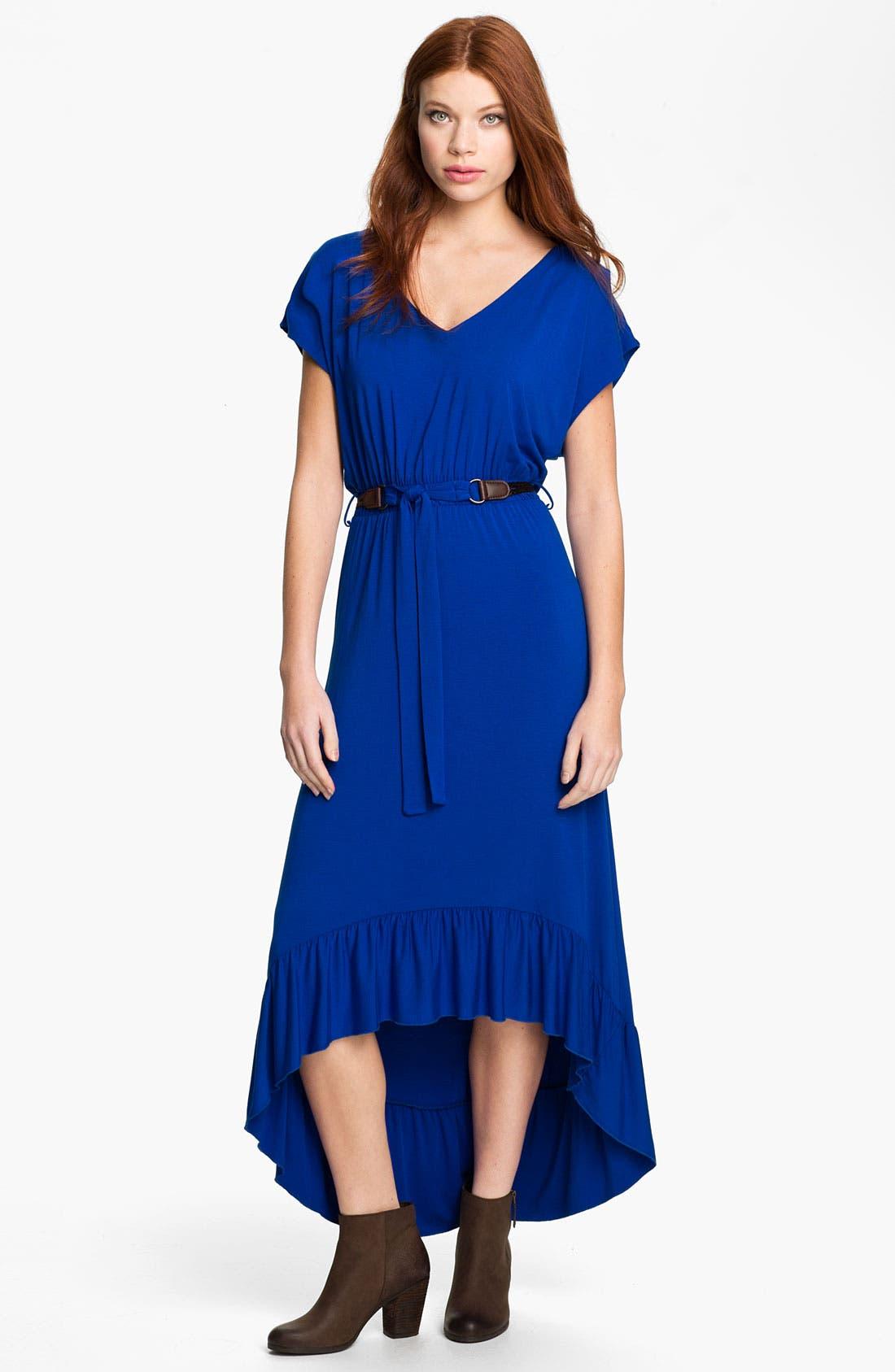 High/Low Stripe Jersey Dress,                             Main thumbnail 1, color,                             Cobalt