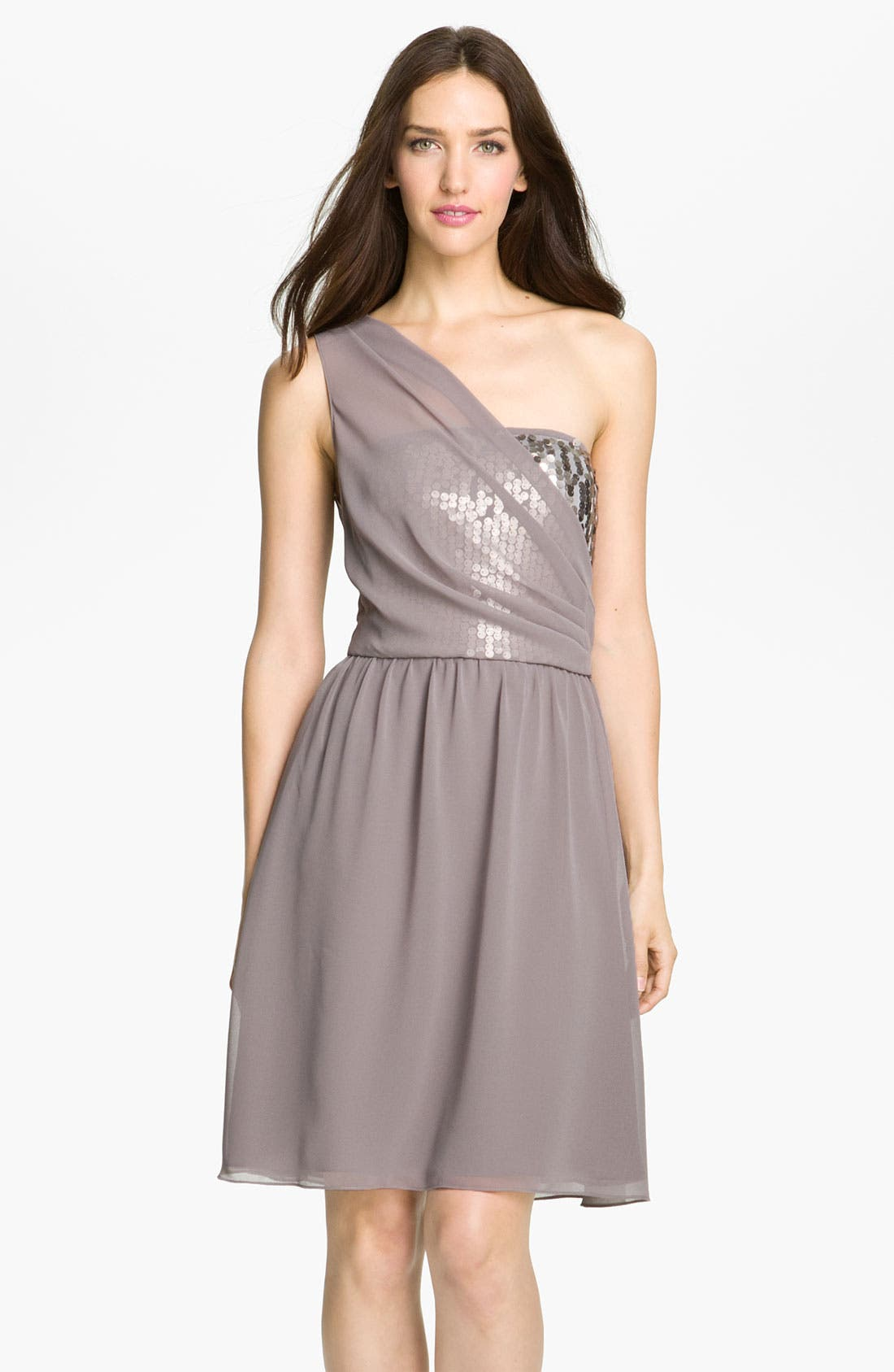 Main Image - Donna Ricco One Shoulder Chiffon Dress with Sequin Trim