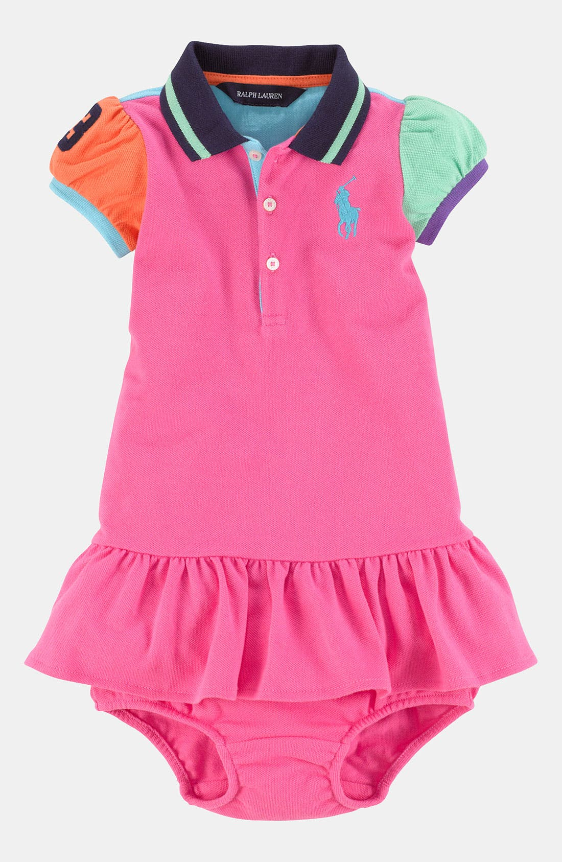Alternate Image 1 Selected - Ralph Lauren Colorblock Dress & Bloomers (Infant)