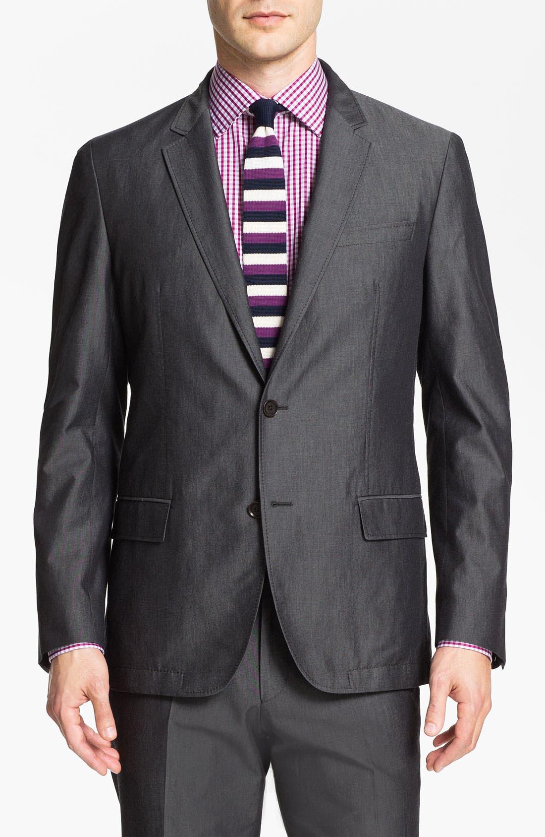 Alternate Image 1 Selected - BOSS HUGO BOSS 'Heaven/Fly' Trim Fit Cotton Blend Suit