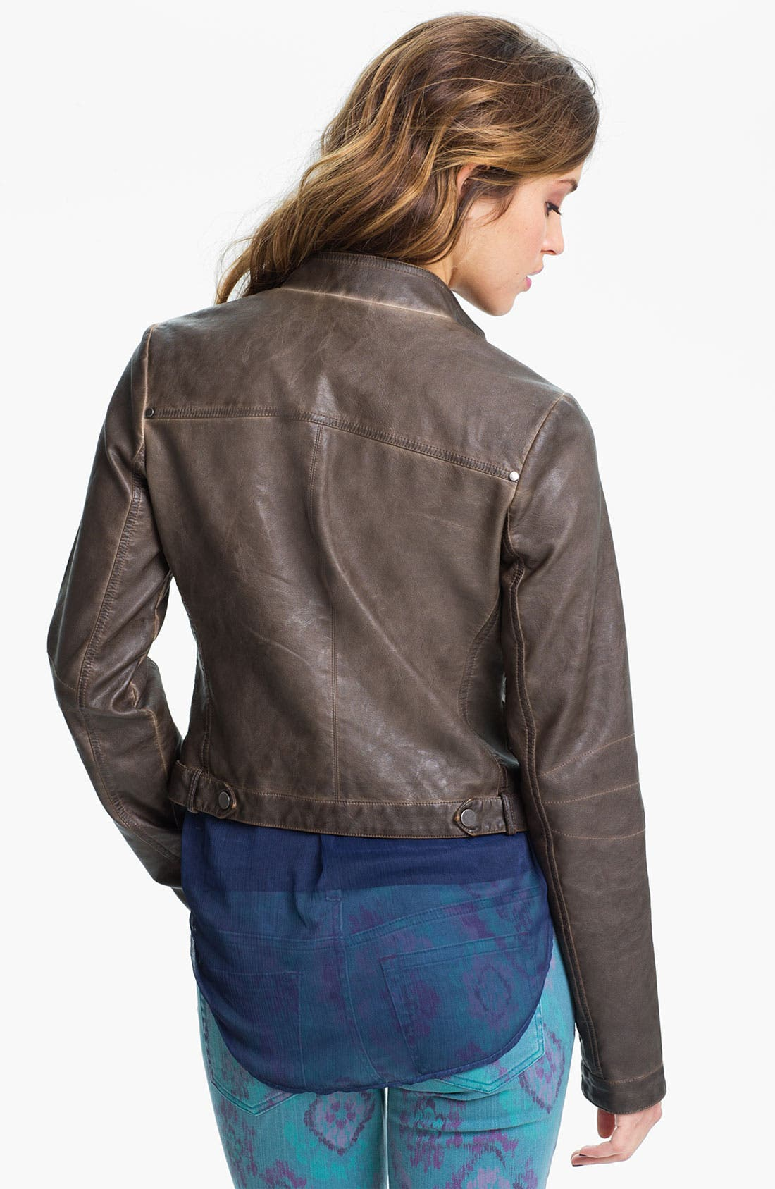 Alternate Image 2  - Collection B Vintage Faux Leather Biker Jacket (Juniors)