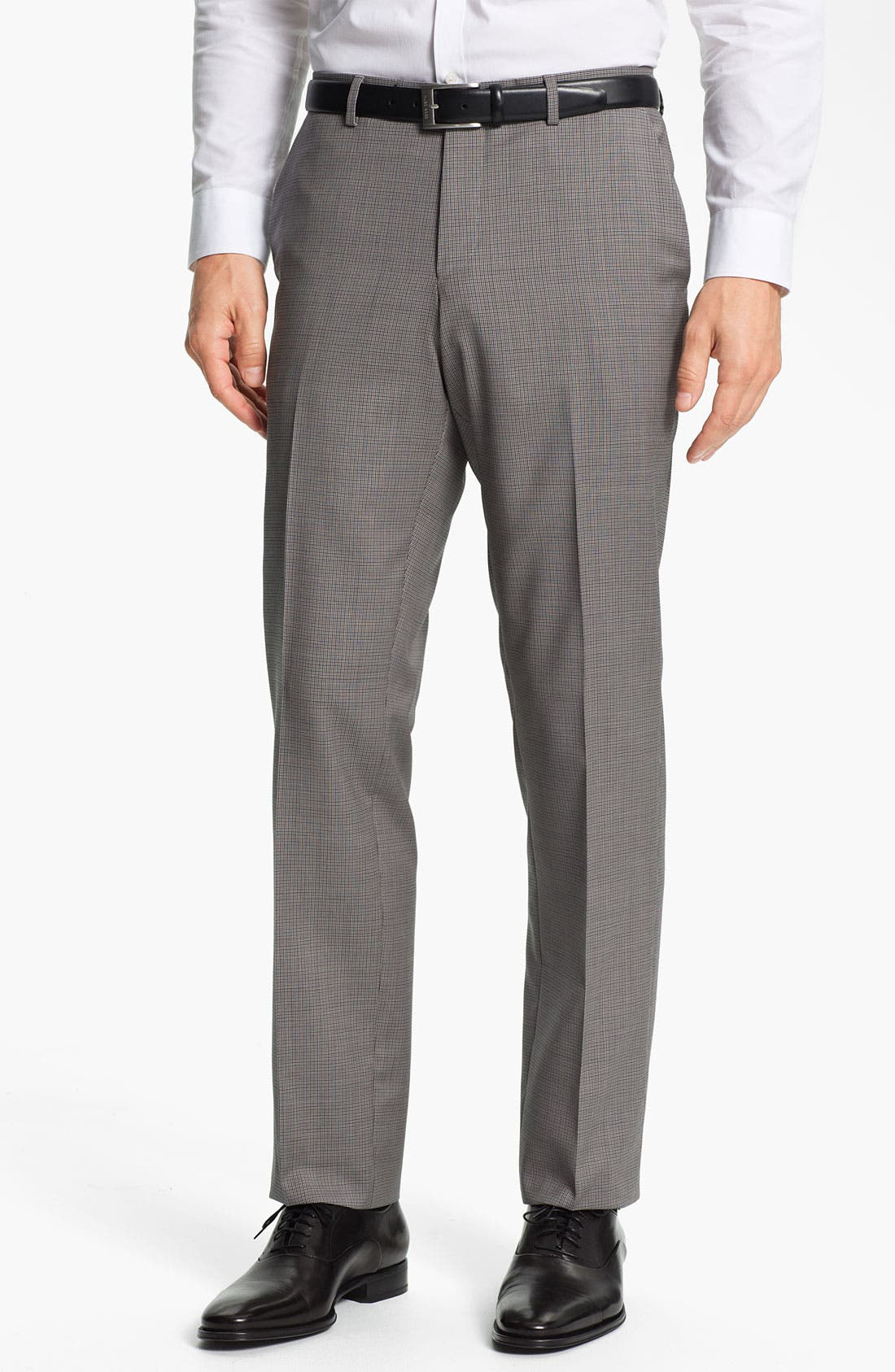 Alternate Image 1 Selected - BOSS Black 'Sharp' Flat Front Wool Trousers