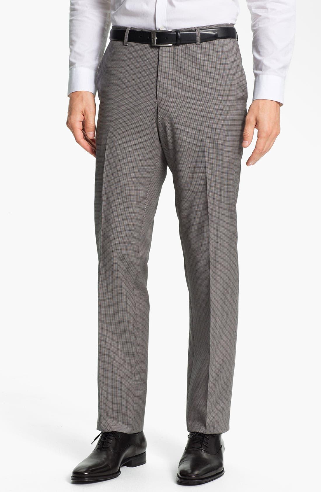 Main Image - BOSS Black 'Sharp' Flat Front Wool Trousers