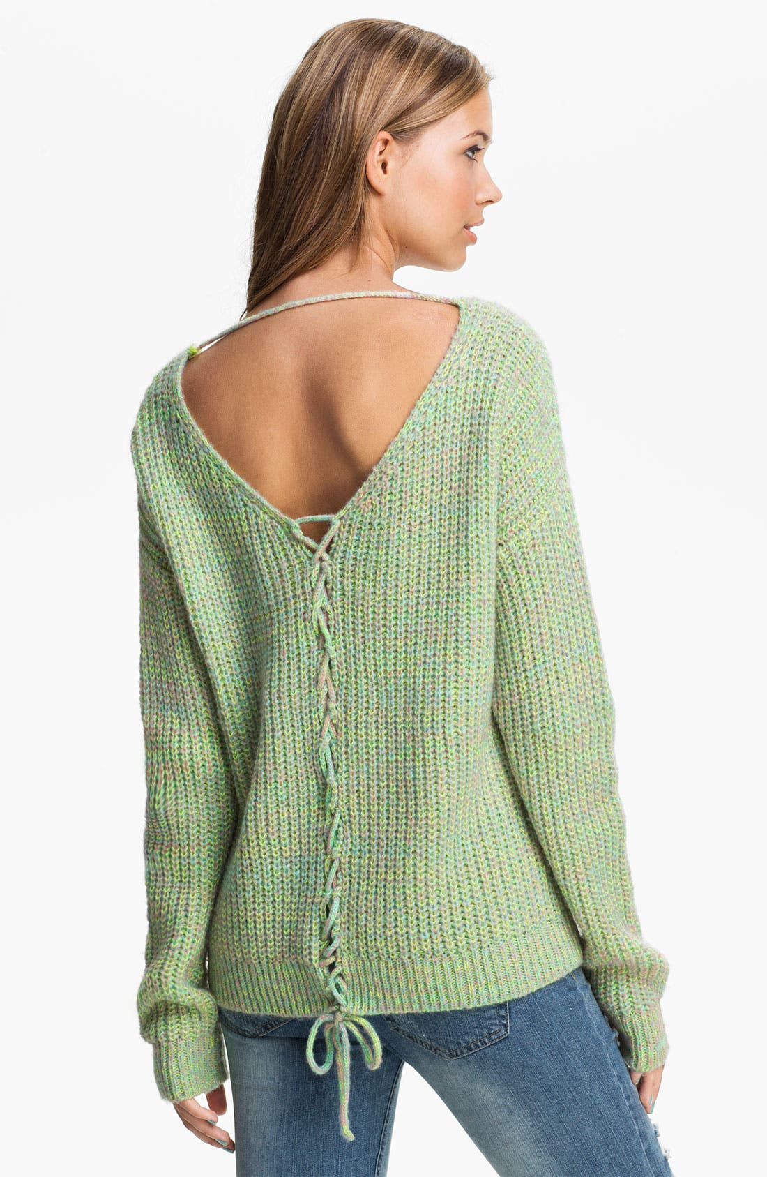 Alternate Image 1 Selected - Love by Design Lace Back Sweater (Juniors)