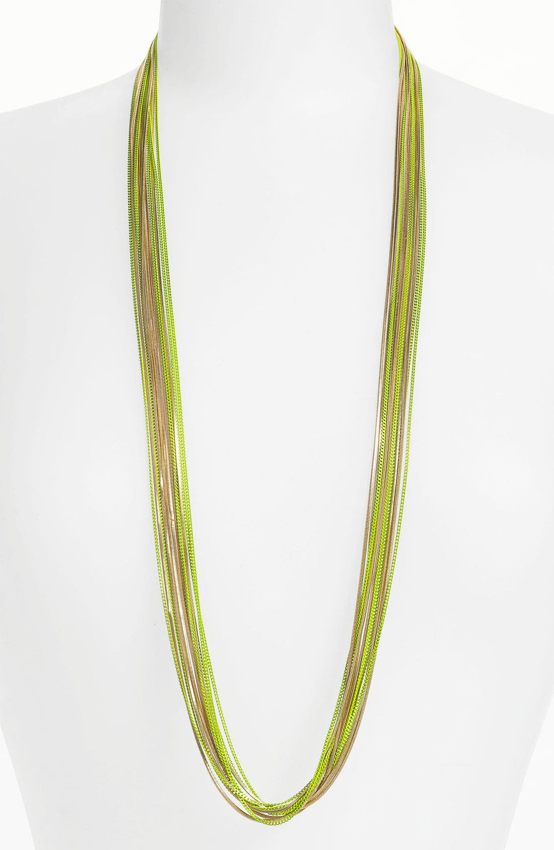 Long Multistrand Necklace,                         Main,                         color, Neon Yellow/ Gold