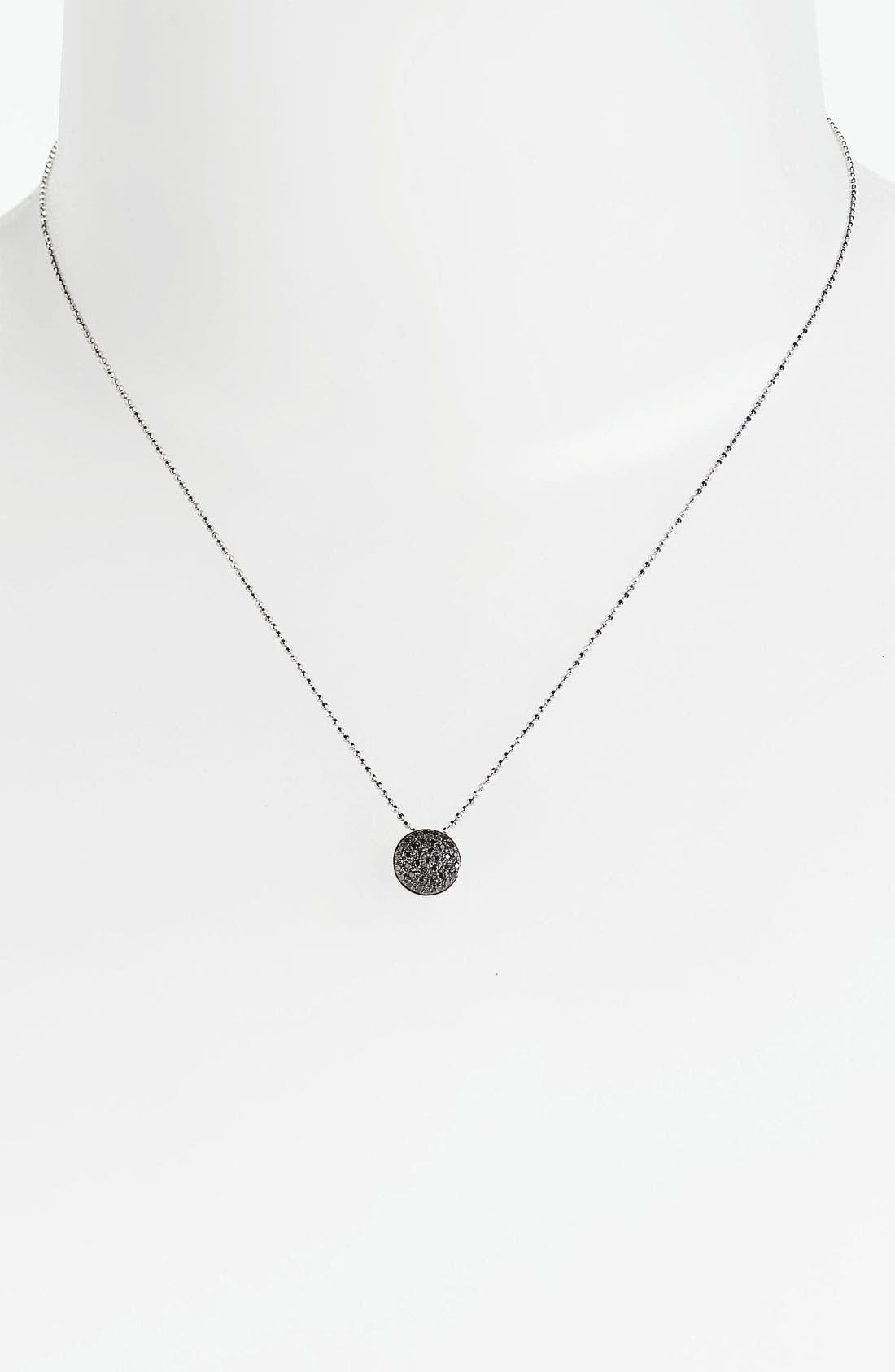 'Eclipse' Pavé Diamond Pendant Necklace,                             Main thumbnail 1, color,                             Black/ White Gold