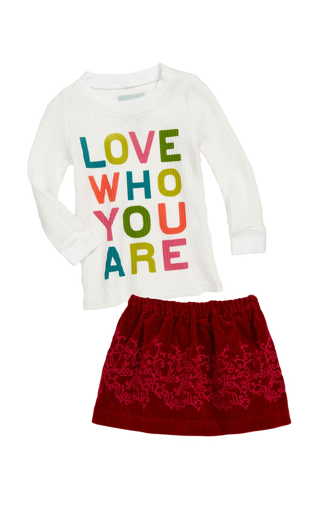 Main Image - Peek Tee & Velvet Skirt (Infant)