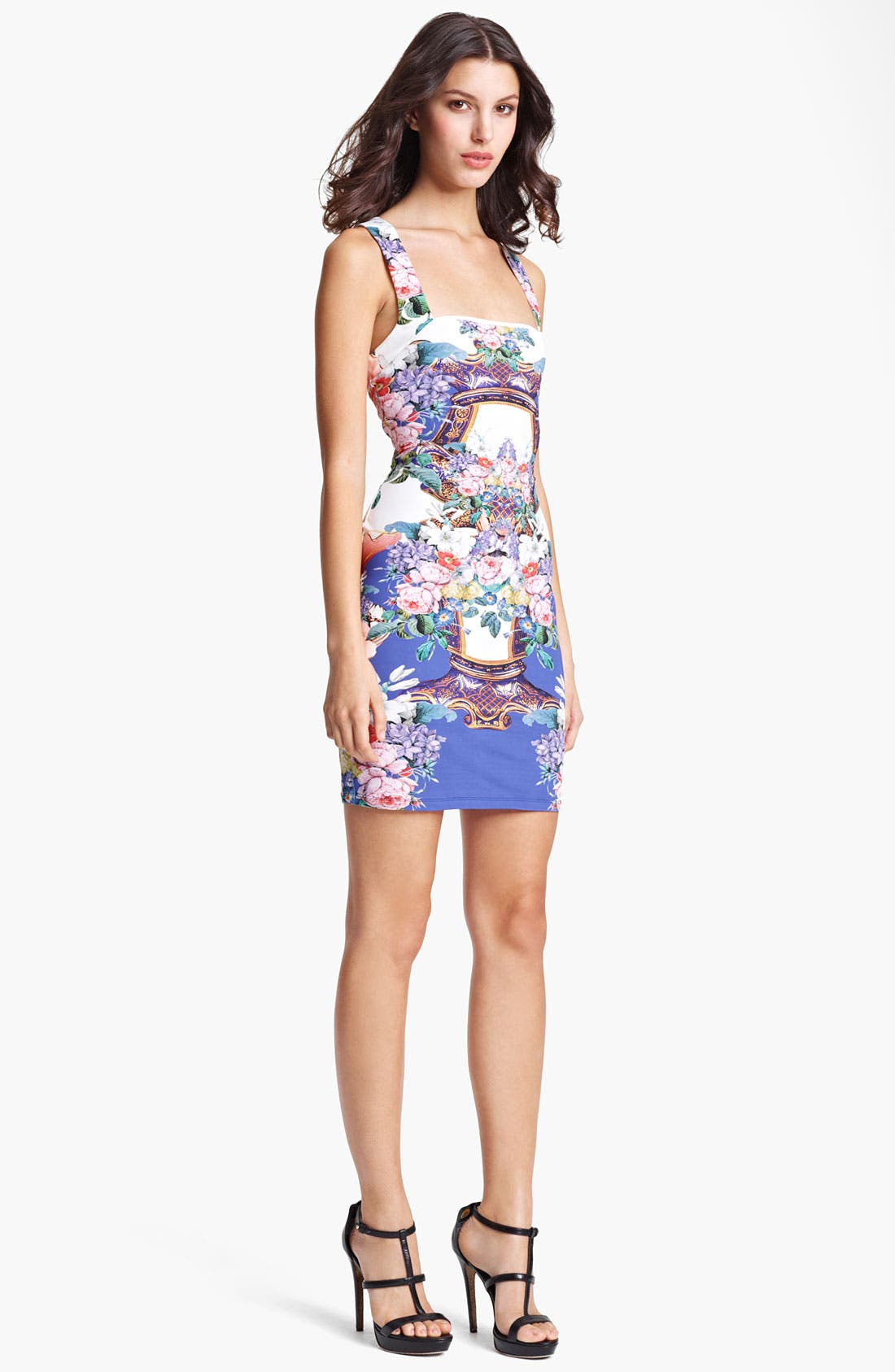 Main Image - Roberto Cavalli Flower Print Square Neck Dress