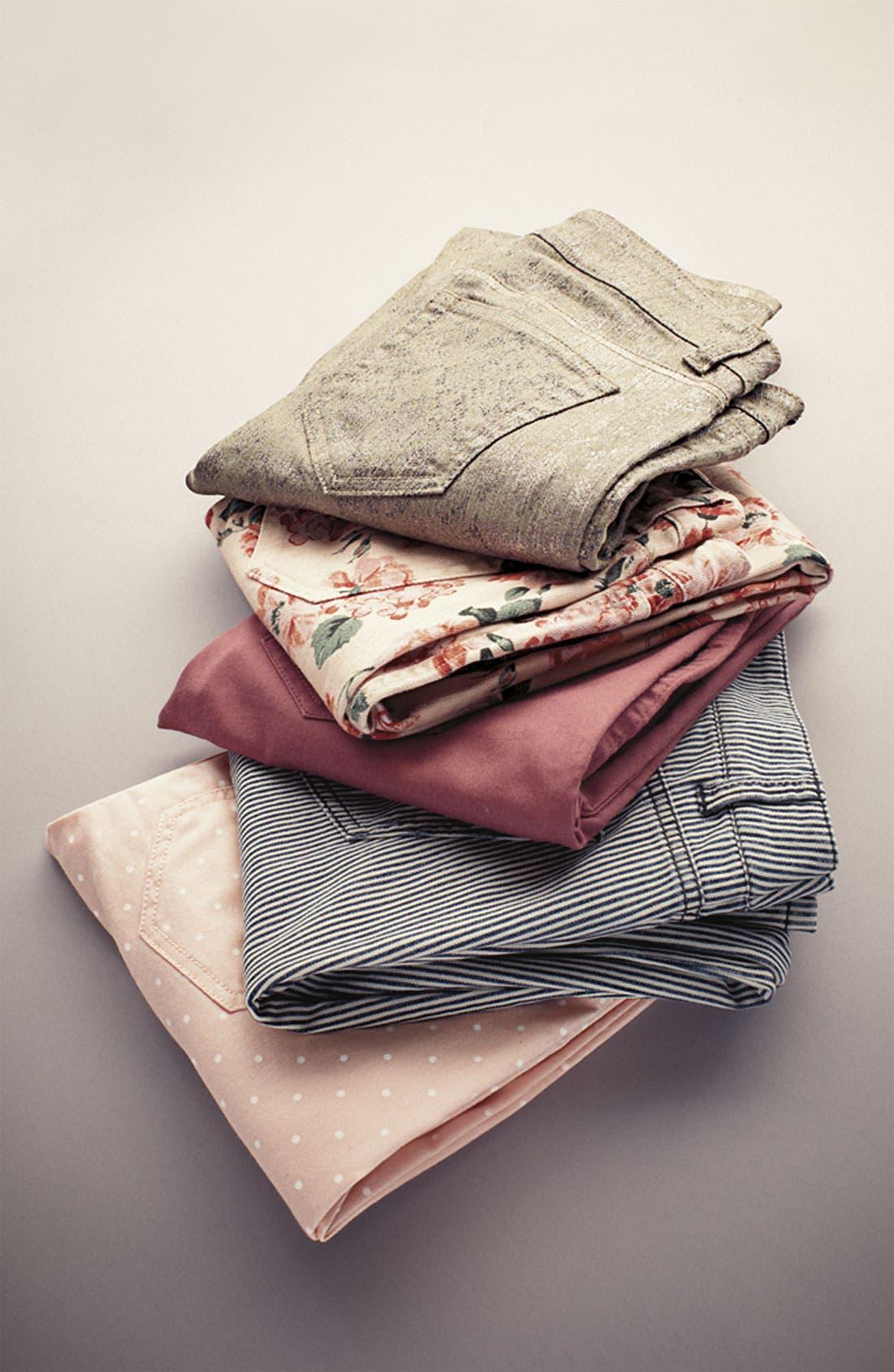 Alternate Image 4  - Fire Stripe Skinny Jeans (Juniors)