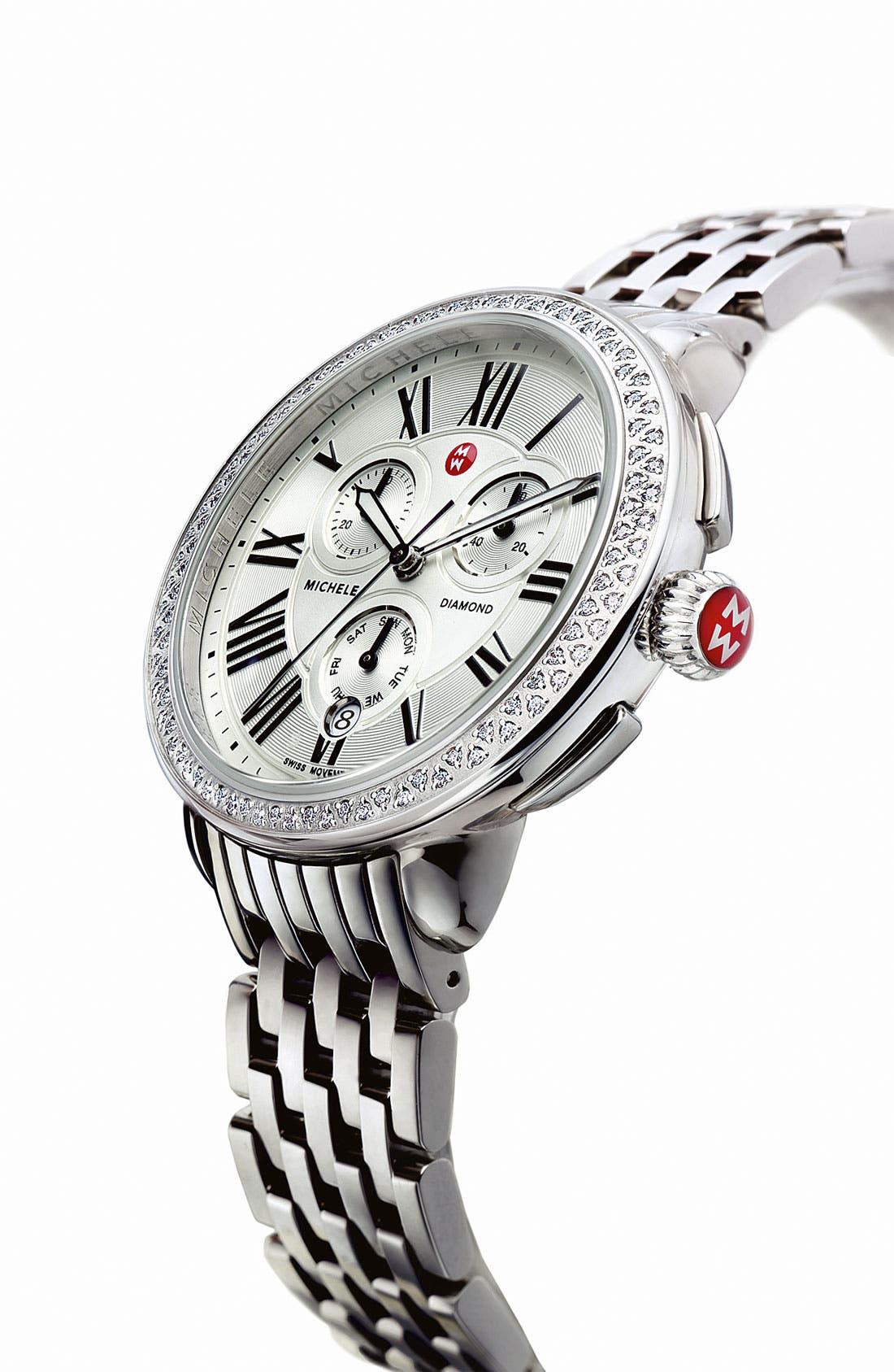 Alternate Image 3  - MICHELE 'Serein' Diamond Watch Case & 18mm Bracelet