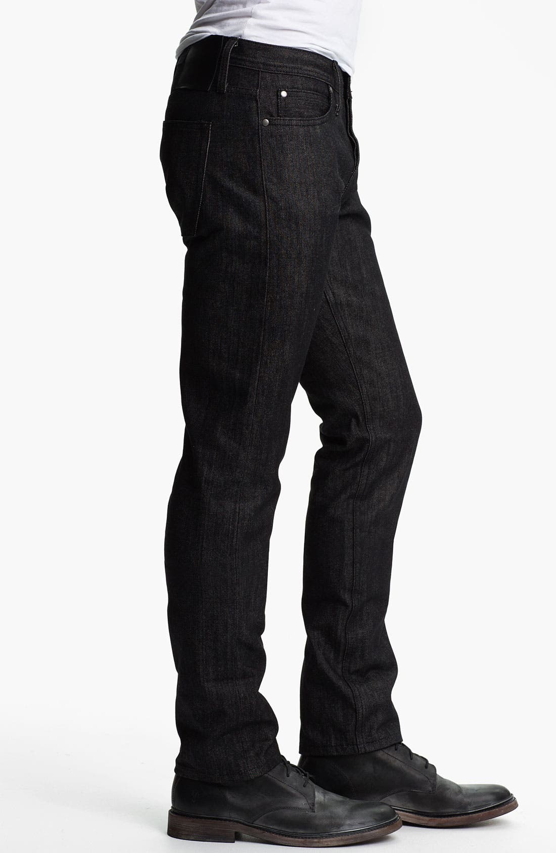 Alternate Image 3  - The Unbranded Brand Skinny Fit Selvedge Jeans (Black)