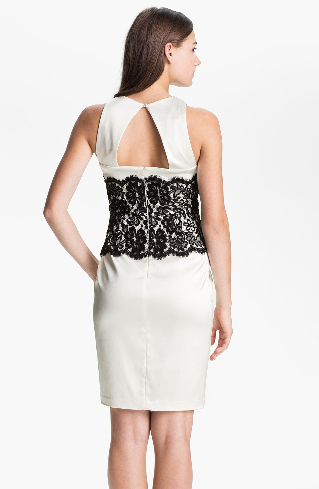 Alternate Image 2  - Xscape Lace Panel Satin Sheath Dress