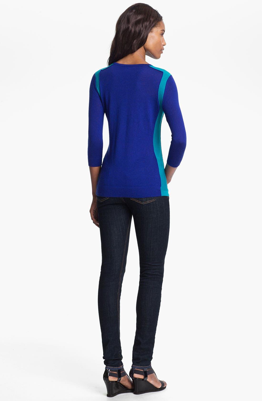 Alternate Image 2  - autumn cashmere Colorblock Crewneck Sweater