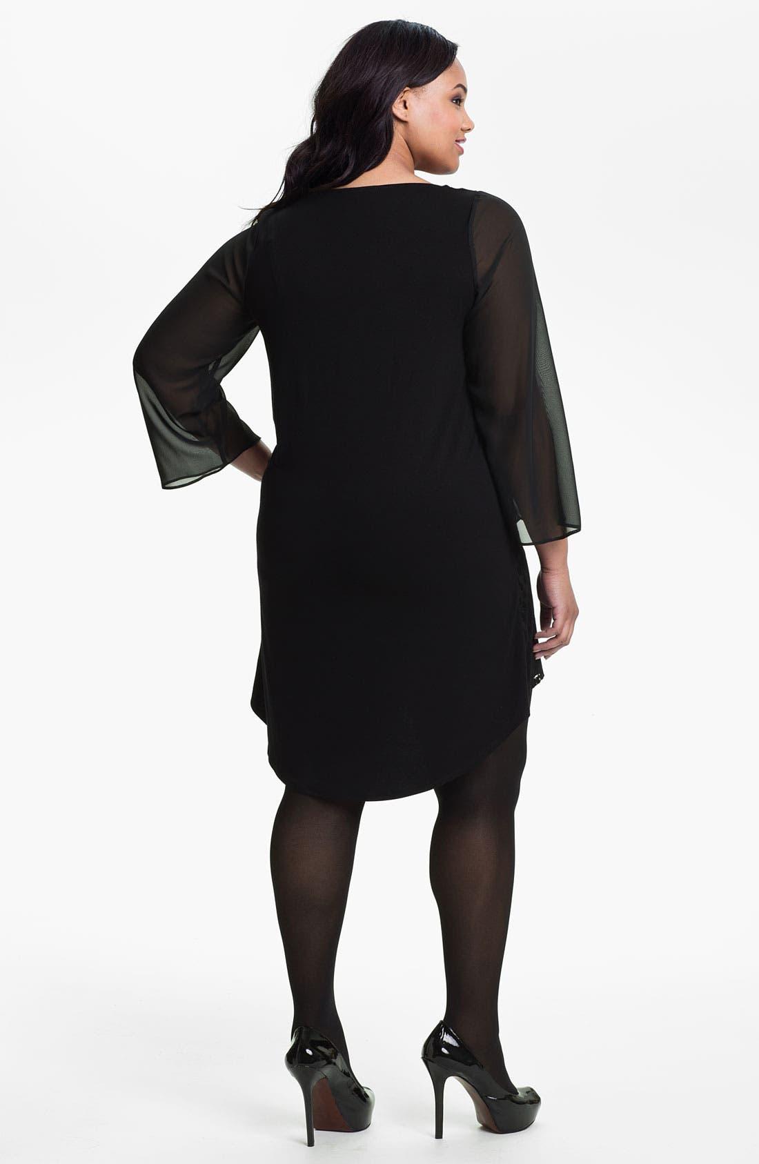 Alternate Image 2  - Evans Flocked Tunic Dress (Plus Size)