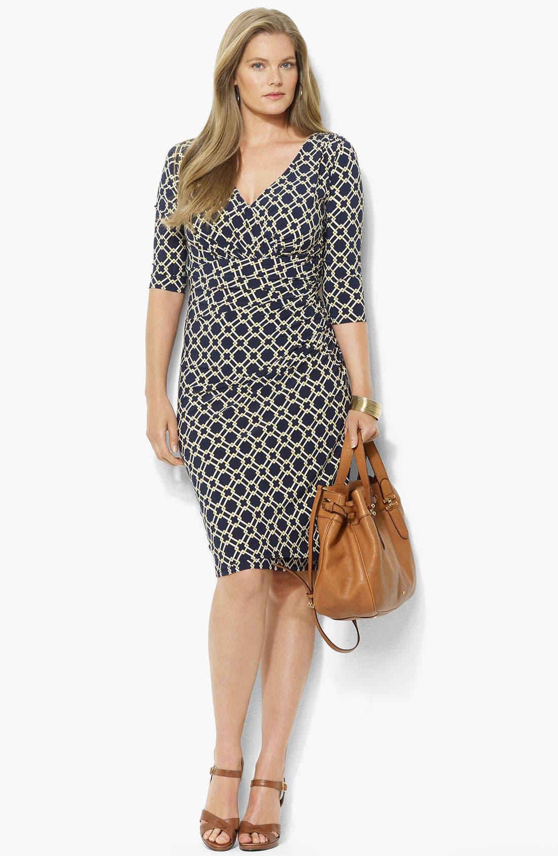 Alternate Image 1 Selected - Lauren Ralph Lauren Surplice Matte Jersey Sheath Dress (Plus)