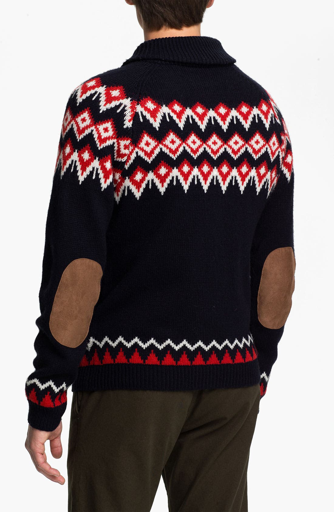 Alternate Image 2  - Topman Nordic Pattern Zip Shawl Collar Cardigan