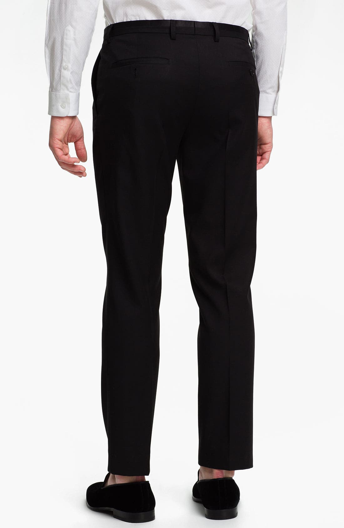 Alternate Image 2  - Topman Black Satin Trim Trousers