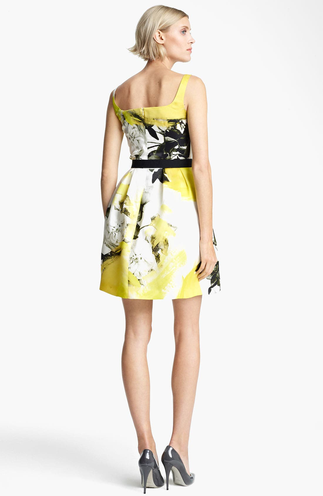 Alternate Image 3  - Christopher Kane Yellow Floral Print Circle Skirt Dress