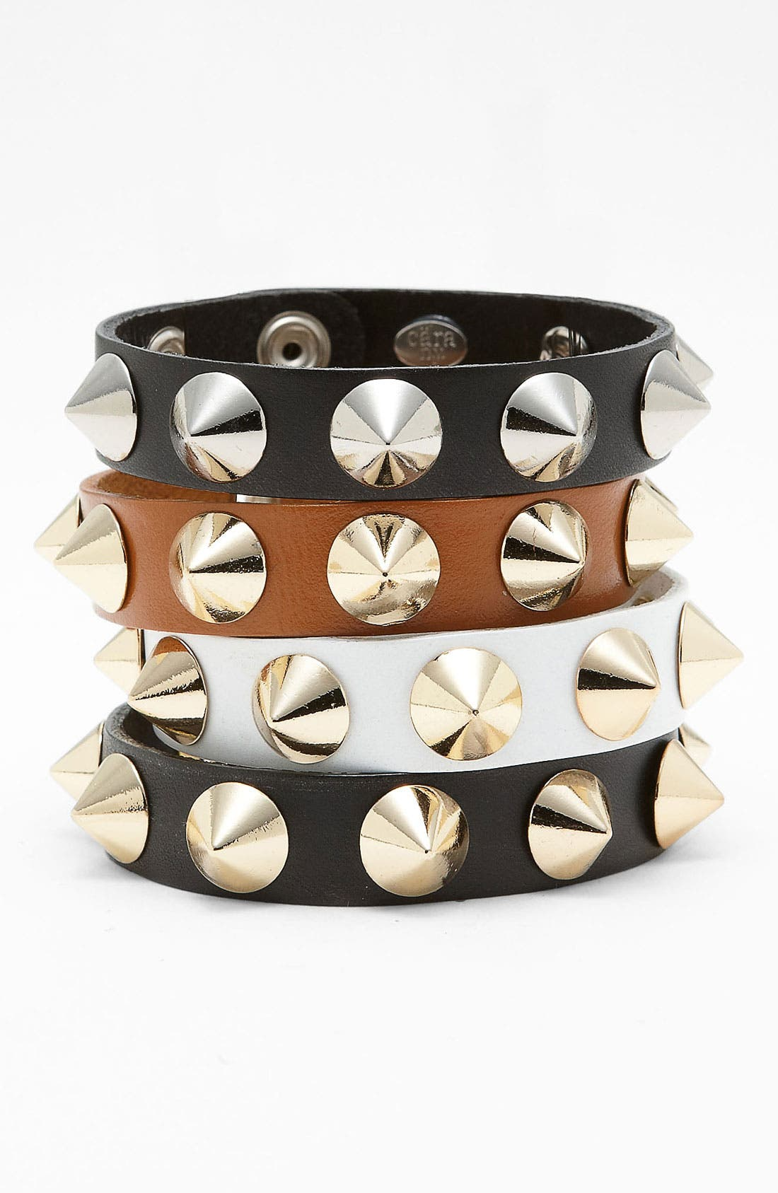 Studded Leather Bracelet,                         Main,                         color, White/ Gold