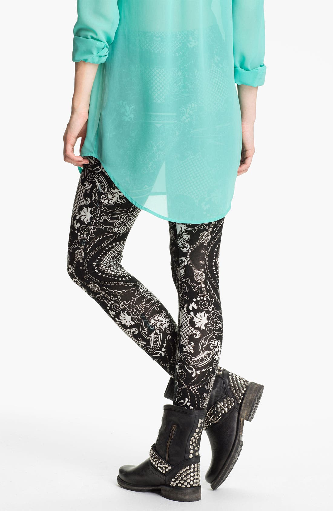 Alternate Image 2  - Lily White Print Leggings (Juniors)