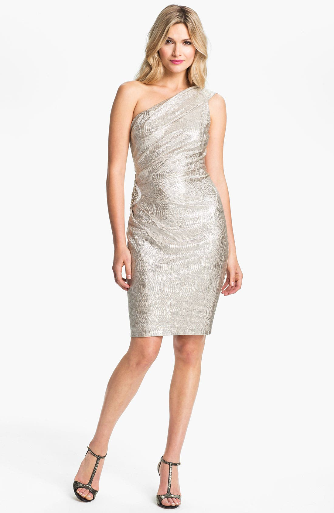 Main Image - Eliza J One Shoulder Beaded Patch Metallic Sheath Dress