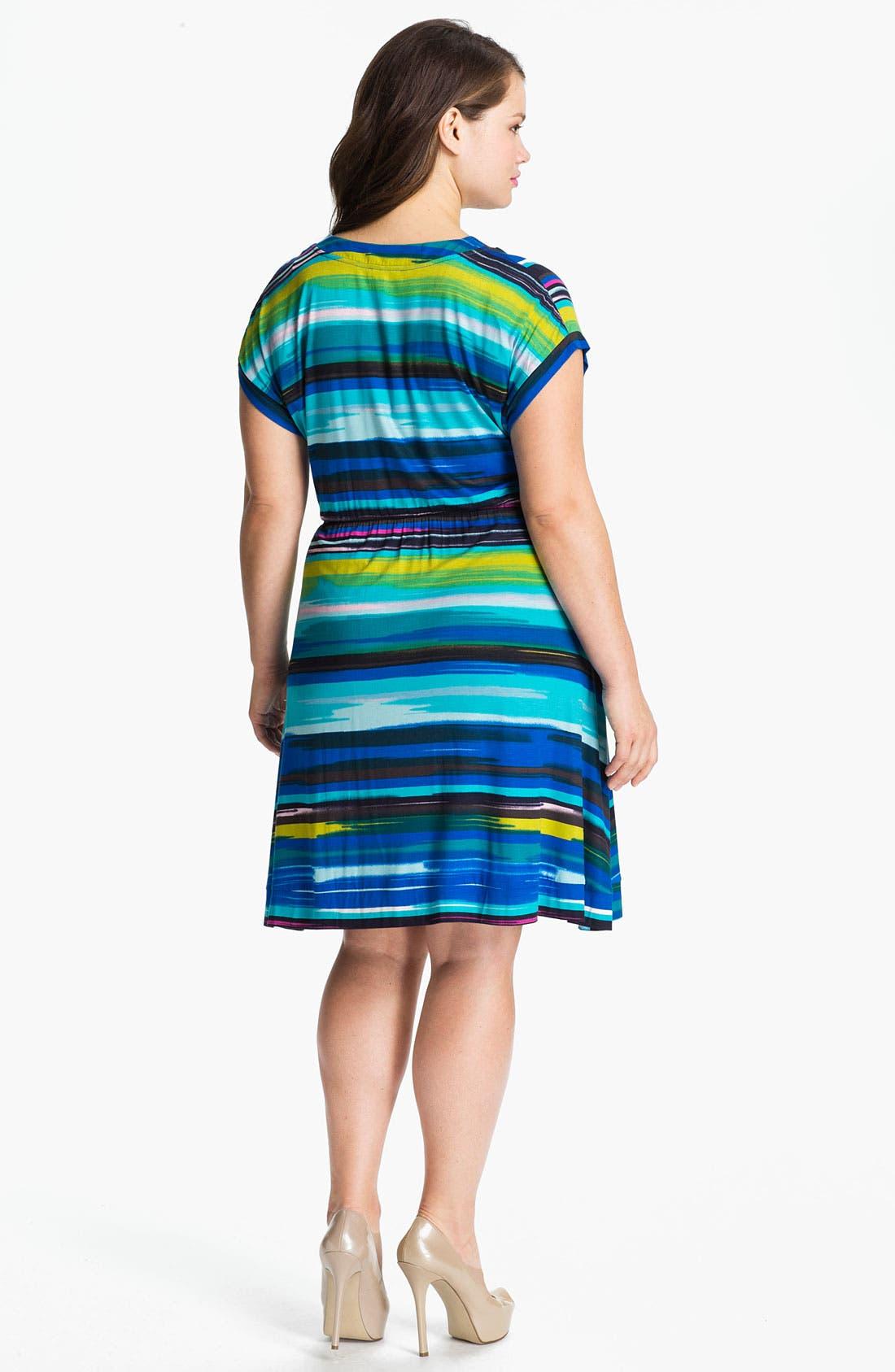 Alternate Image 2  - Calvin Klein Multi Stripe V-Neck Jersey Dress (Plus)