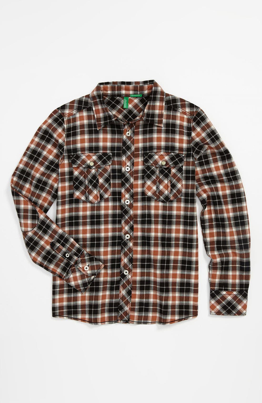 Main Image - United Colors of Benetton Kids Plaid Woven Shirt (Little Boys & Big Boys)