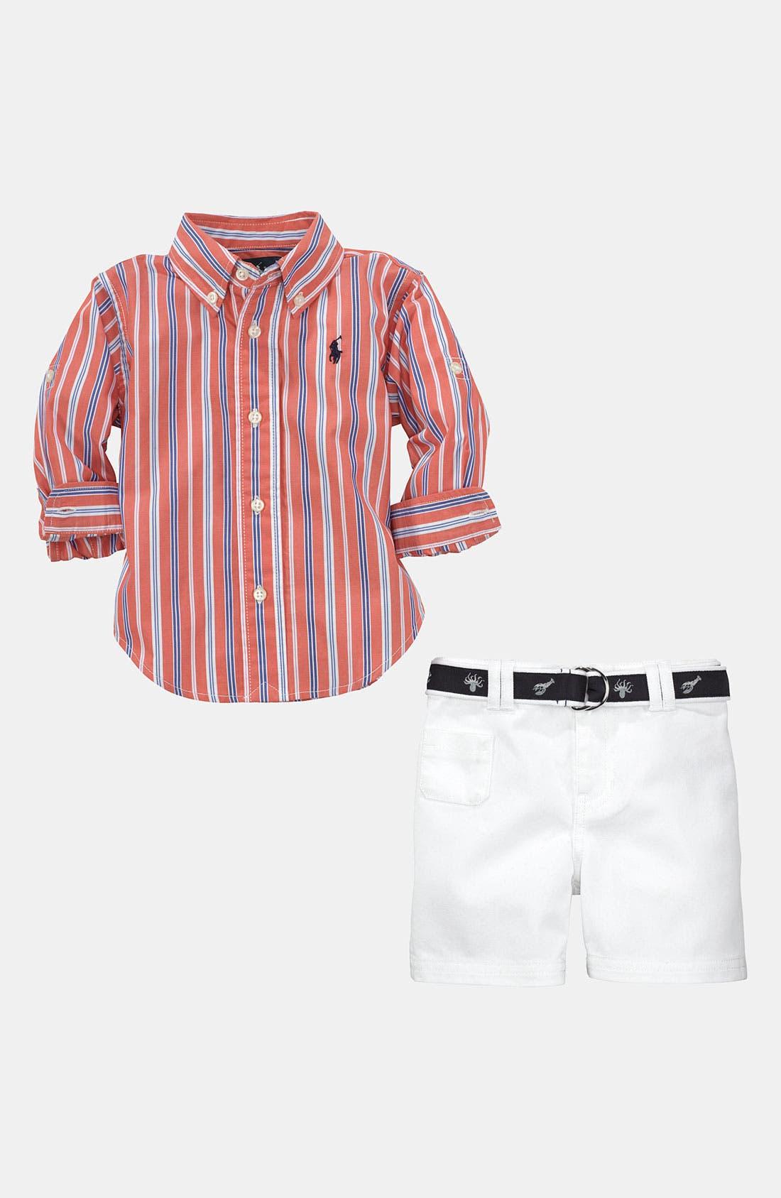 Alternate Image 2  - Ralph Lauren Stripe Shirt & Shorts (Infant)