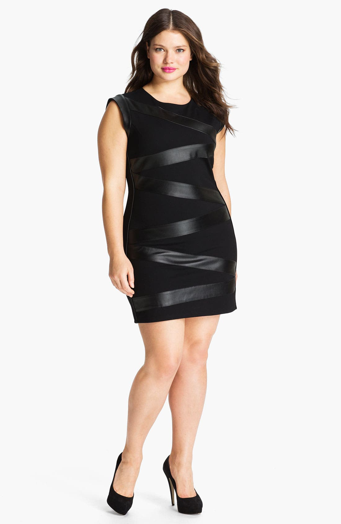 Main Image - Sheri Bodell Faux Leather Wrapped Ponte Sheath Dress (Plus)