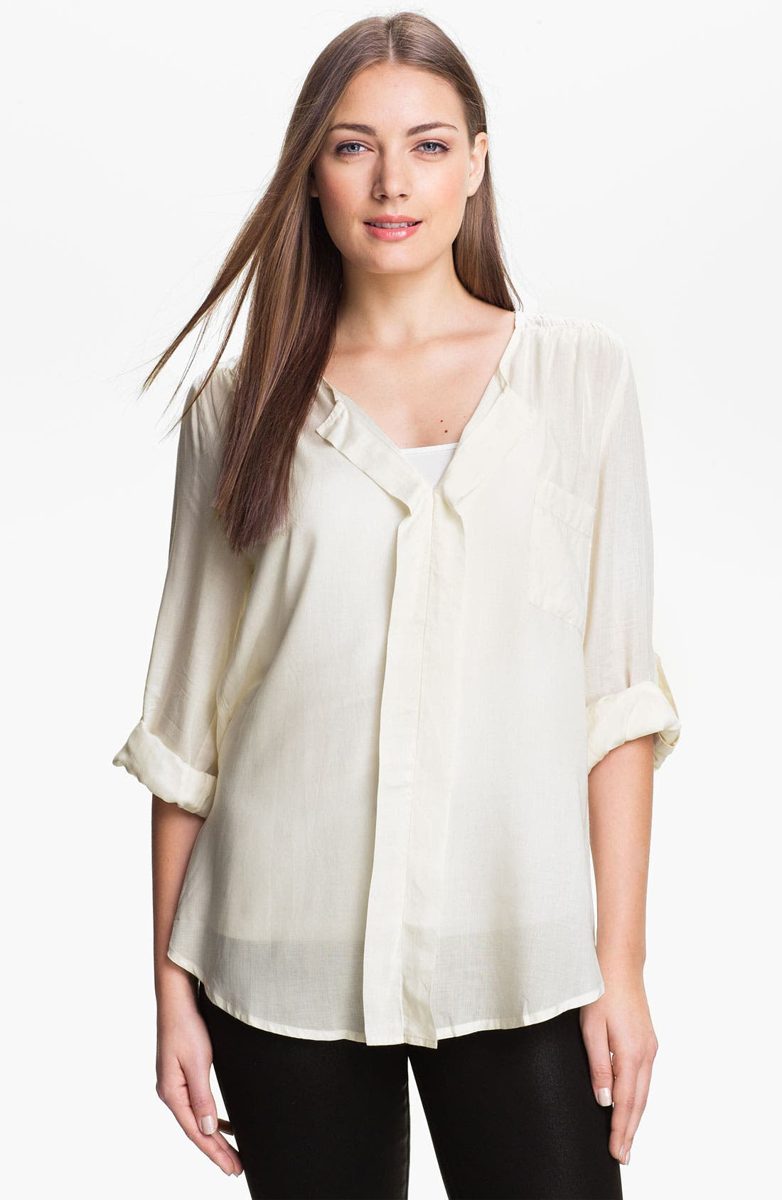 Alternate Image 1 Selected - Max & Mia Split Neck Blouse