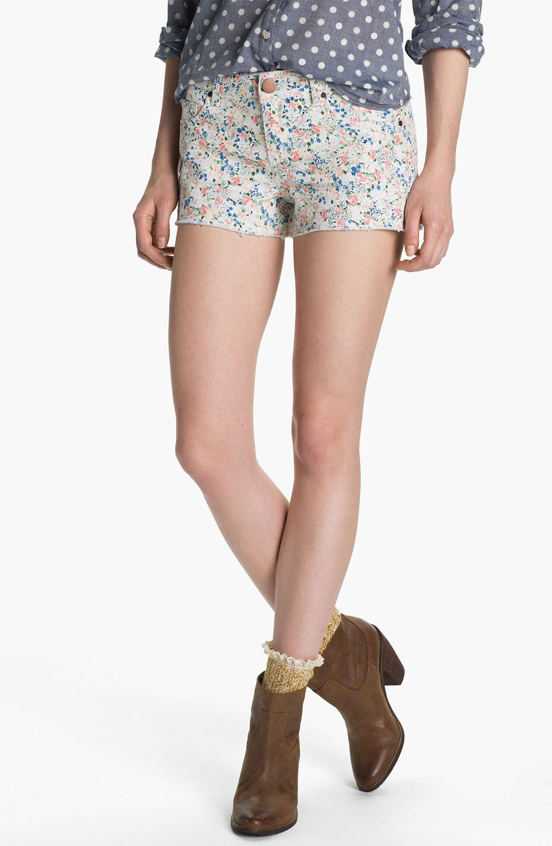 Main Image - Fire Floral Print Cutoff Denim Shorts (Juniors)