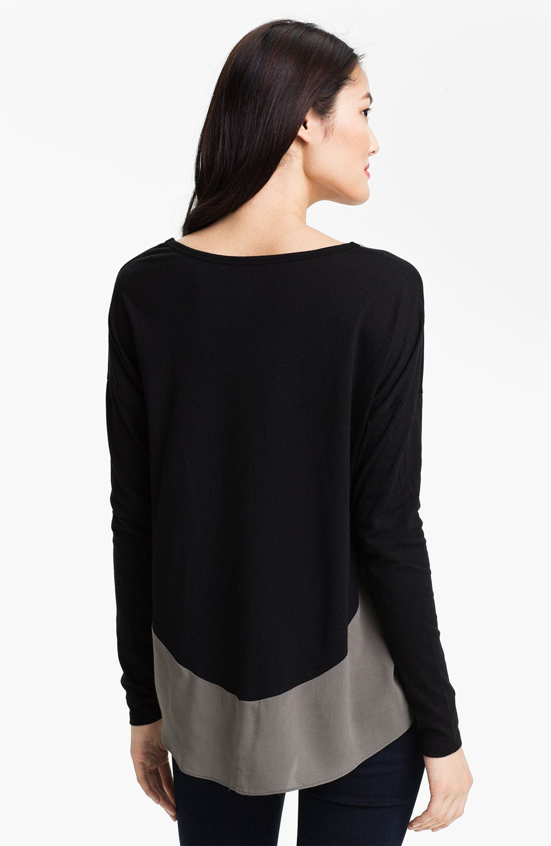 Alternate Image 2  - Two by Vince Camuto Colorblock Mix Media Tee