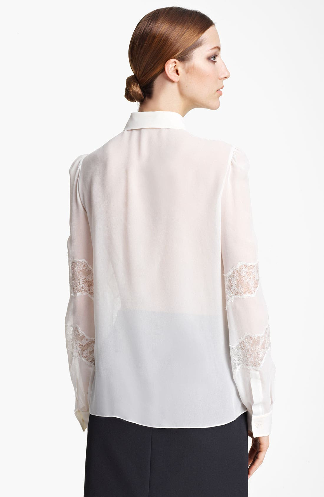 Alternate Image 2  - Valentino Lace Accent Georgette Blouse